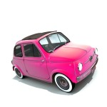 small pink car